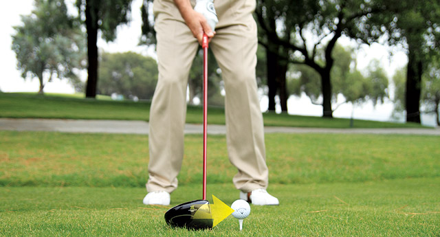 Teeing with a gap between club face and ball