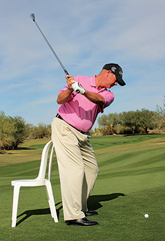 Chair drill at top of backswing