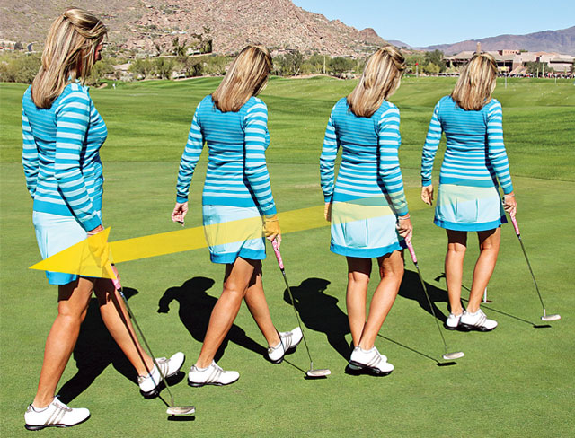 reading putts by walking backwards
