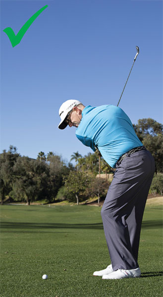 It may be a short wedge shot, but I'm clearly not afraid to make a full backswing turn.