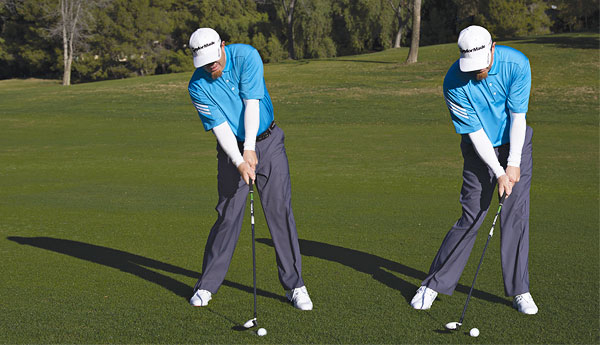 Hanging back is never a good idea! Trust the loft of your clubs and play the hands ahead of the golf ball.