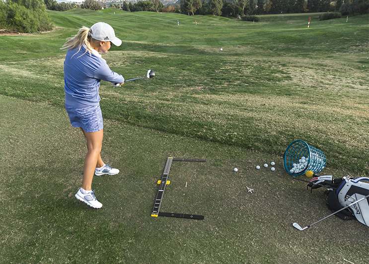 Anna Nordqvist with SKLZ Golf Set-Up Trainer