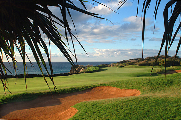 The 16th hole at Poipu Bay Golf Course on the south side of Kauai.