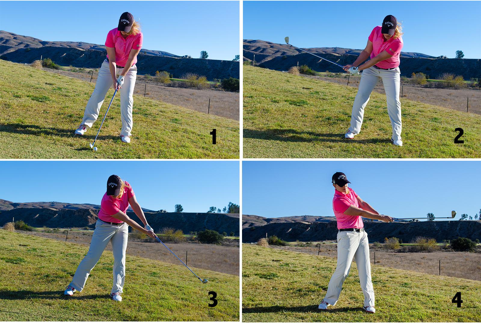 Golf Swing Downhill
