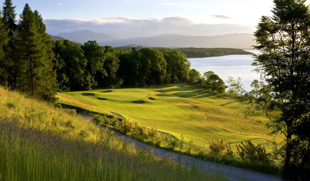 The par 3 14th on the Carrick Course overlooking Loch Lomond, Scotland