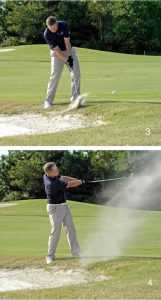 bunker shot-impact and follow-through