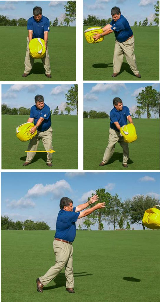 golf balance bag toss drill