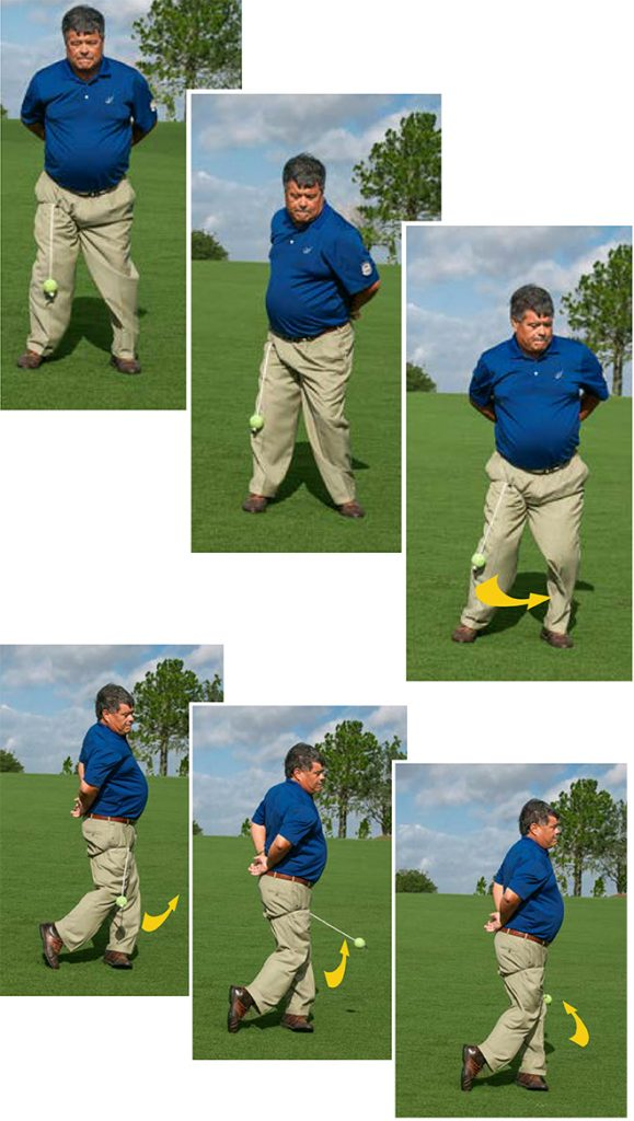 golf balance ball around feet drill