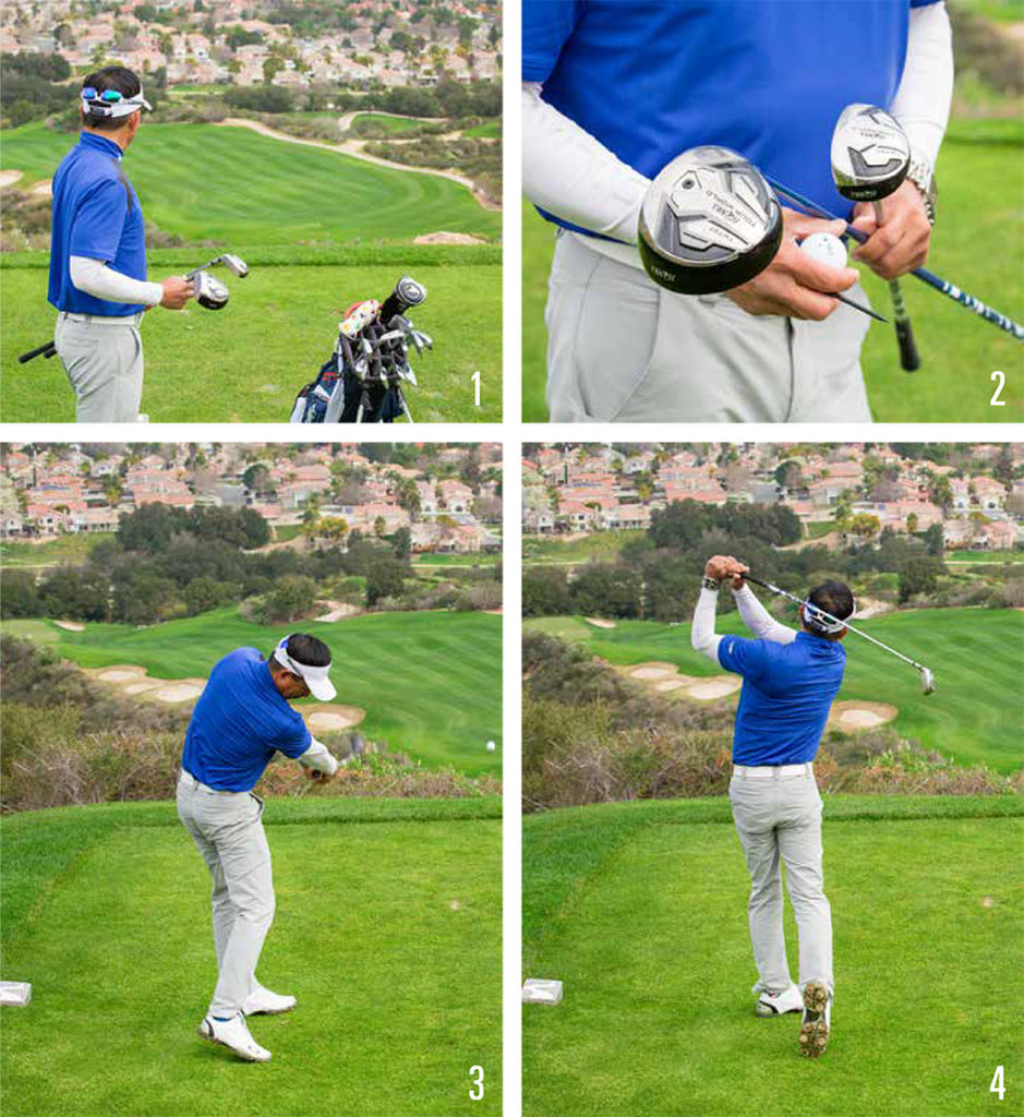 big downhill golf shots 1-4